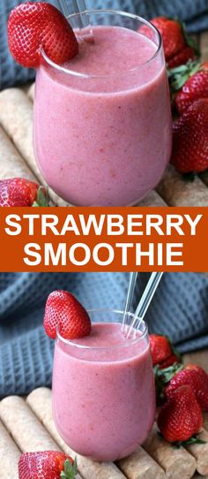 This Strawberry Smoothie recipe is perfect for the dairy free diet. It's easy, has only 4 ingredients and takes less than 5 minutes. There's even a bit of maple syrup for this healthy fruit packed smoothie. #dairyfree #veganrecipes #dairyfreerecipes #strawberrysmoothierecipe #healthystrawberrysmoothie #easystrawberrysmoothie Berry Smoothie Recipe, Detox Smoothie Recipes, Strawberry Smoothie, Smoothie Drinks, Drink Recipes Nonalcoholic, Yummy Drinks, Dairy Free Diet, Dairy Free Recipes, Healthy Breakfast Smoothies
