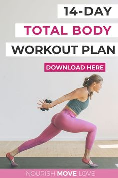 Sweat and sculpt at home with this FREE full body workout plan! This 14-Day Workout Challenge is made up of a variety of workout videos you can follow along with at home, ranging from barre to strength training for women to HIIT and yoga! #homeworkouts #workoutsforwomen 14 Day Workouts, Workout Routines For Women, Workout Plan For Women, Fast Workouts, Body Workouts, Full Body Workout Plan, Leg Workout At Home, Boxing Workout, Workout Kettlebell