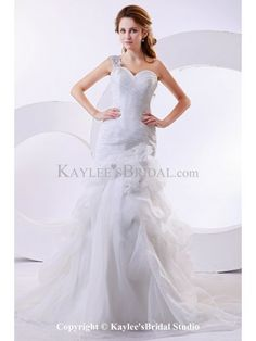 Organza One-Shoulder Cathedral Train A-Line Wedding Dress with Ruffle and Flowers