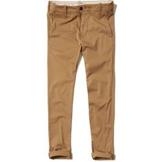 Hollister Super Skinny Chino Pants ($22) ❤ liked on Polyvore featuring men's fashion, men's clothing, men's pants, men's casual pants, men, dark khaki, mens pants, mens skinny pants, mens chinos pants and mens skinny fit dress pants