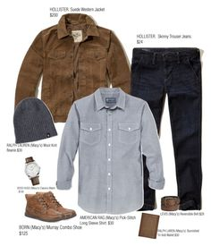 """Mr. Oz's Look Book Page 1"" by ms-ironickel ❤ liked on Polyvore featuring Hollister Co., American Rag Cie, Levi's, Lauren Ralph Lauren, Børn, BOSS Hugo Boss, Polo Ralph Lauren, men's fashion and menswear"