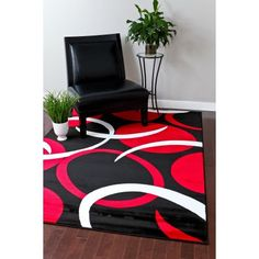 Persian Rugs 1062 Red Abstract contemporary area rug