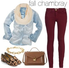 chambray shirt, burgundy jeans, beige scarf, animal print flats, gold chains - I think I actually have the makings of this outfit! Chambray Shirt Outfits, Casual Outfits, Cute Outfits, Maroon Jeans Outfit, Denim Ootd, Denim Shirts, Burgundy Outfit, Burgundy Pants, Red Pants