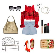 """""""Pic-nic"""" by pannozzoroberta ❤ liked on Polyvore featuring AG Adriano Goldschmied, For Love & Lemons, Christian Louboutin, Gucci, Dolce&Gabbana, NARS Cosmetics, art, nature, NARS and MINISKIRT"""