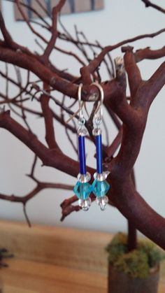Blue and Teal Dangle Earrings by CarissasCollection on Etsy, $15.00