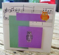any occasion FWB by RogueKissedCraft Handmade Birthday Cards, Handmade Cards, Handmade Gifts, Owl Card, Gray Owl, Vintage Sheet Music, Recycled Materials, Toy Chest, Etsy Store