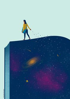 Davide Bonazzi - Small thoughts, big ideas. It is often the smallest seed of a thought that can grow into the biggest idea. #illustration for Pearson. #conceptual #education #books #learning #ideas #space #universe