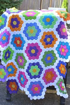 Grandmother's Flower Garden quilt I want to try one of these :)