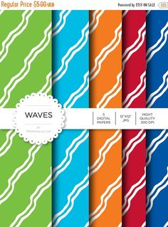"""Flash: 66% Of Entire Shop Digital Paper - Waves - Instant Download - Digital Artwork by mormonlinkshop  1.70 USD  Digital paper is a bit of a misnomer as no paper is involved! You can use these JPEG versions of 12""""x12"""" papers to create backgrounds photo mattes die-cuts etc. just as you would have used a traditional piece of paper. Of course you're able to use these over and over again no longer will you worry about making the """"wrong cut"""" and wasting your supply. Great for all ages classes…"""