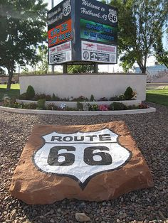 Route 66 marker on the corner of Navajo Blvd and Hopi Drive in Holbrook, Arizona