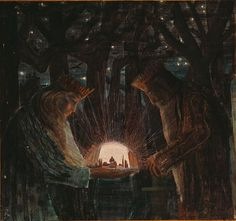 Mikalojus Konstantinas Čiurlionis (1875-1911), Lithuanian painter and composer. Quite obviously Tolkien got his inspiration for Middle-earth from Čiurlionis' paintings. Here is king Elessar with a palantír (and an extra character).