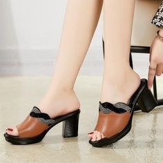 Brown Leather Sandals, Leather High Heels, Cow Leather, Black Heels, Summer Slippers, Summer Shoes, Summer Sneakers, Shoes With Jeans, Womens High Heels