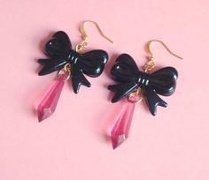 Kawaii Bow Earrings, Crystal, Magical Girl, Lolita, Pastel Goth