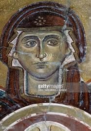 Face of Maria, fresco in the Byzantine church of Agios Georgios, Vathi, Crete