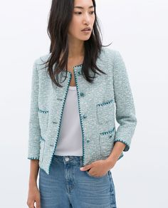 CONTRAST EMBROIDERED JACQUARD JACKET from Zara
