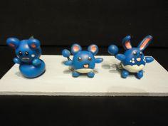 Handmade clay Pokemon Azuril, Marill, Azumarill evolution