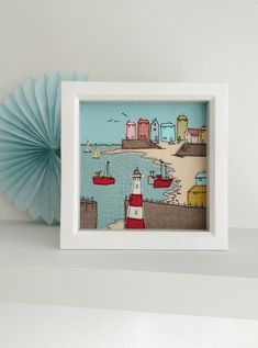 Cornwall textile art by Lillyblossom. Free-motion machine embroidery seaside fishing village lighthouse harbour seagull boats beach coast by LillyBlossom on Etsy Freehand Machine Embroidery, Free Motion Embroidery, Machine Embroidery Projects, Embroidery Software, Embroidery Supplies, Machine Embroidery Applique, Embroidery Stitches, Embroidery Ideas, Applique Ideas