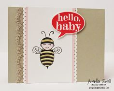 Hello Baby card by Amanda Sevall using Stampin' Up! Little Sunshine and Baby Bumblebee stamp sets