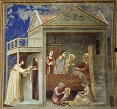 Giotto di Bondonne. Fresco de la capilla Scrovegni en Padua con la escena del Nacimiento de la Virgen. Destaca el sentido narrativo al introducirse una escena principal en el interior de la estancia y una secundaria en la entrada. Introduce hechos de gran cotidianidad en una escena religiosa.