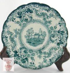 antique transferware plate teal blue green floral ceramic