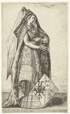 Portret van Maria, hertogin van Bourgondië, Adriaen Matham, 1620