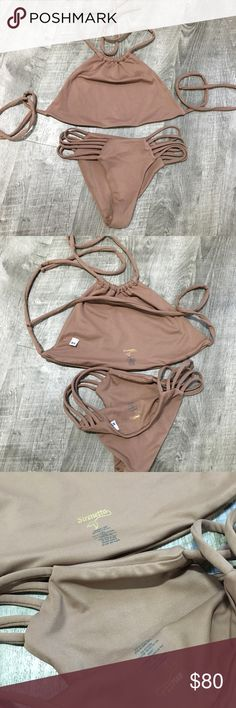 Sirenetta beige halter high waist bikini set XS Worn once to the spa. Like new. Killer style   💁🏼💋Check out other items 👚+👖+👗to bundle and SAVE 💰on shipping! Help me ✨MINIMIZE✨my #rvlife 👽while transforming my bod! Sirenetta Swim Bikinis
