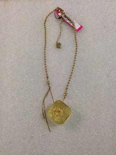 Betsey Johnson Necklace Yellow Lucite Star Encrusted Rhinestone Block Rare #BetseyJohnson #Statement