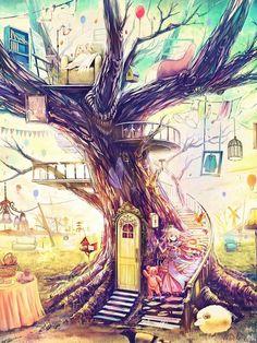 #anime #treehouse #illustration