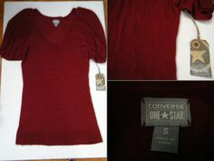 """Converse One Star Size: S NWT brick red tunic sweater, light knit short sleeve $13 - Find it by going to www.LoyalRoyaltyPro.com, click on the """"Miss Anthropy's Boutique"""" link on the left sidebar and click on one of the hyperlinks that say """"Miss Anthropy's Boutique"""" to be taken to all of my eBay auctions including the one below! Don't forget to check out the other content on www.LoyalRoyaltyPro.com as well!"""