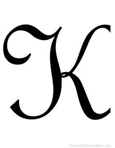 Print Free Large Cursive Letter K. Letter K in Cursive Writing for Wall Hangings or Craft Projects. Cursive Letter K Cutout on Full Sheet of Paper.
