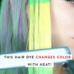 New Hair Dye Changes Color When You Heat Style This hair dye changes color when you apply heat. Watch this video to learn more.This hair dye changes color when you apply heat. Watch this video to learn more. New Hair, Your Hair, Pelo Multicolor, Crazy Hair, Crazy Color Hair Dye, Tips Belleza, Rainbow Hair, Hair Art, Pretty Hairstyles