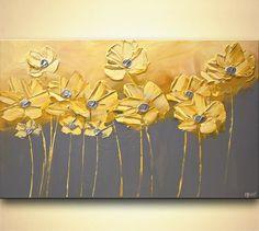 Ursprüngliche gelbe Blumen Malerei Acryl abstrakt Kunst