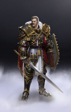 NPC - Rexor Morncar, Baron of Crow's Perch, Baron of Fyke. Paladin of the Northern Crusades. Built his fame and fortune in the Northern Cruades. Fantasy Male, Fantasy Armor, High Fantasy, Medieval Fantasy, Dnd Characters, Fantasy Characters, Character Concept, Character Art, Rpg Cyberpunk