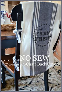 NO SEW CHAIR BACK COVERS- Great embellishment for any chair-stonegableblog.com