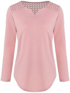 V Neck Loose Cut Out T-Shirt in Pink | Sammydress.com
