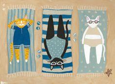 The Lazy Sunbathers Original Beach Cat Folk Art Painting by KilkennycatArt