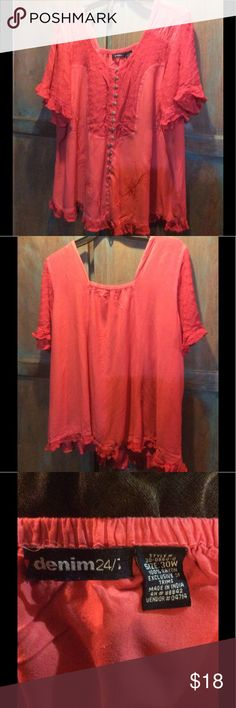 "Denim 24/7 coral/ red top. 5x 30w Denim 24/7 red coral pullover blouse. Lace trim and ruffle trimmed sleeves and hem. Faux buttons. Appx 29"" long. Short sleeves. Round neck. Never worn. Size 30w or 5x. denim 24/7 Tops Blouses"