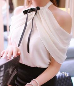 White Plain Bowknot Pleated Off Shoulder Slash Neck Split Sleeve Sweet  Fashion Blouse - Fashion 8b3904917469