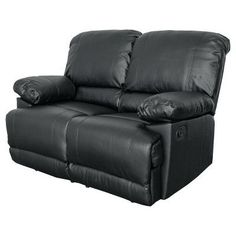 Lea Black Bonded Leather Reclining Loveseat - Corliving