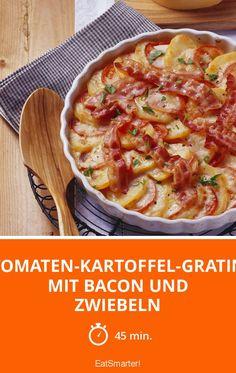 Tomaten-Kartoffel-Gratin mit Bacon und Zwiebeln