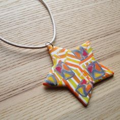 Citrus Fizz Star FIMO Polymer Clay Pendant £7.00