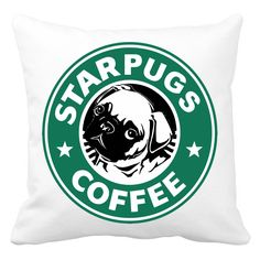 STARPUGS COFFEE (MOPSZ) - Egyedi mintás párnahuzat! WEBSHOP: http://printfashion.hu/mintak/reszletek/starpugs-coffee/parnahuzat-diszparnahuzat