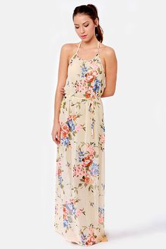 Beautiful floral dress for spring! That's Floral Like It Beige Floral Print Maxi DressLove it! $51