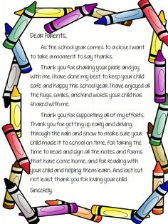 End of School Letter to Parents More