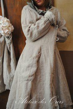 MLLE ROSETTE : Manteau en lin rosé