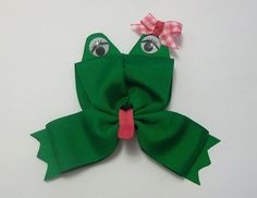 cute frog with wide ribbon