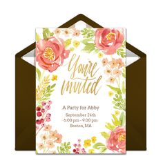 """This free """"Fall Floral"""" invitation is a favorite on Punchbowl. We love it for a lovely 30th birthday party. Easily personalize and send via email for a memorable celebration!"""