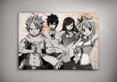 Image of fairy Tail - Natsu - Gray - Juvia - Lucy - Emblem watercolor print poster n192