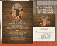 Deer Wedding Invitations Rustic Fall Wedding by NotedOccasions