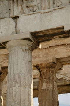 Detail of columns used in The Parthenon, a Doric order temple